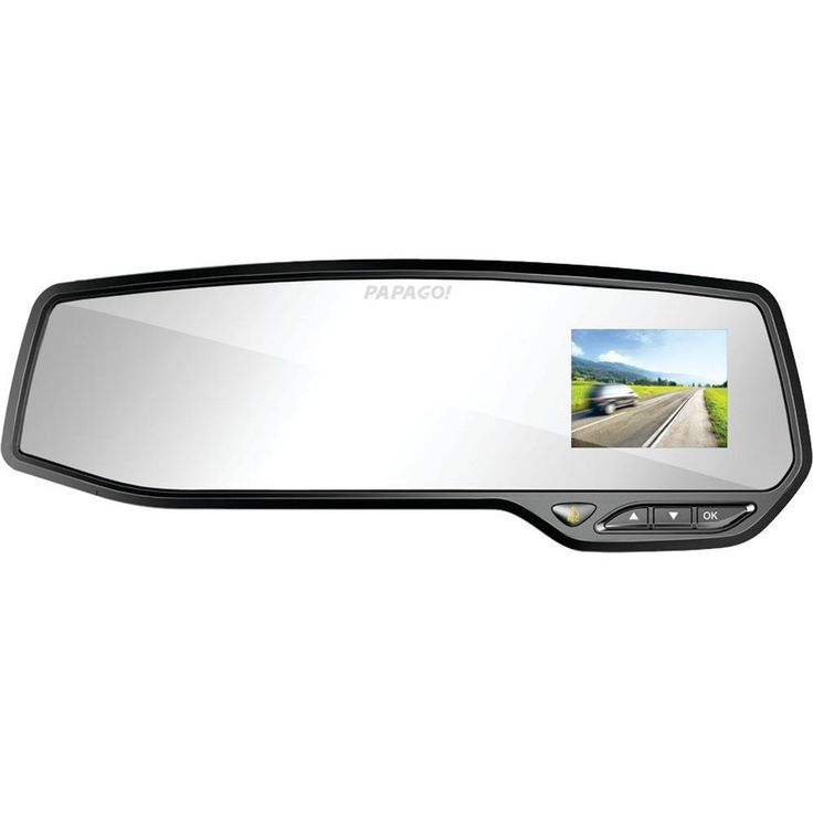 Papago GS2688G GoSafe 268 Full HD Dash Cam Mirror with 8GB microSD(TM) Card. Fits most standard rearview mirrors;  Records Full HD 1080p high-resolution video;  Uses Sony(R) Exmor sensor & a high-quality glass lens for precise & clear picture quality;  135deg viewing angle;  Turns on automatically when car engine is turned on;  2.7 display can be switched off while driving;  Zoom +/- allows the driver to zoom in or out for capturing footage of a cars license plate;  Parking Guard mode…