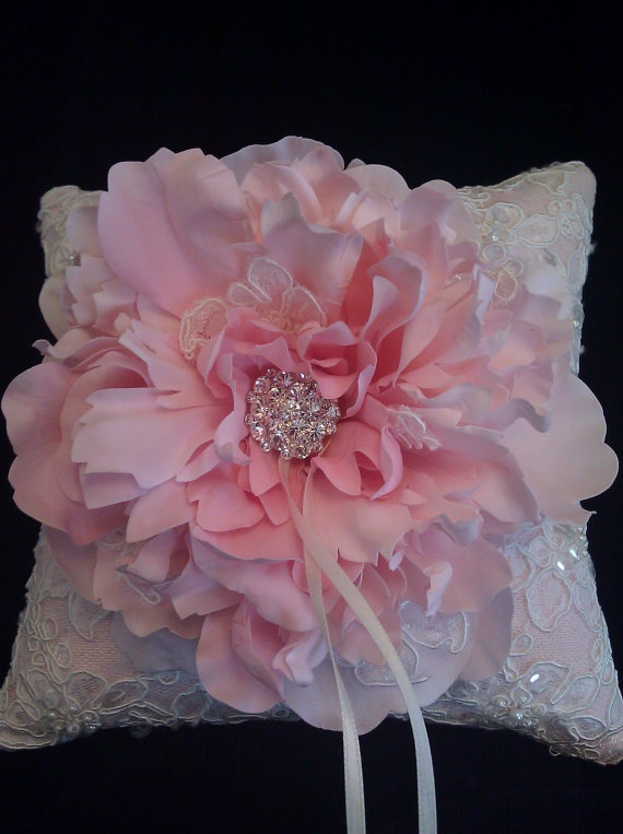 Pink Peony and Alencon Lace Ring Bearer Pillow by simplybridal1