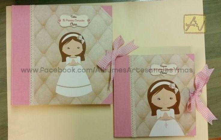Holy Communion photo album and guest book. Handmade. Album de fotos y libro de firmas para Primera Comunión. Hechos a mano
