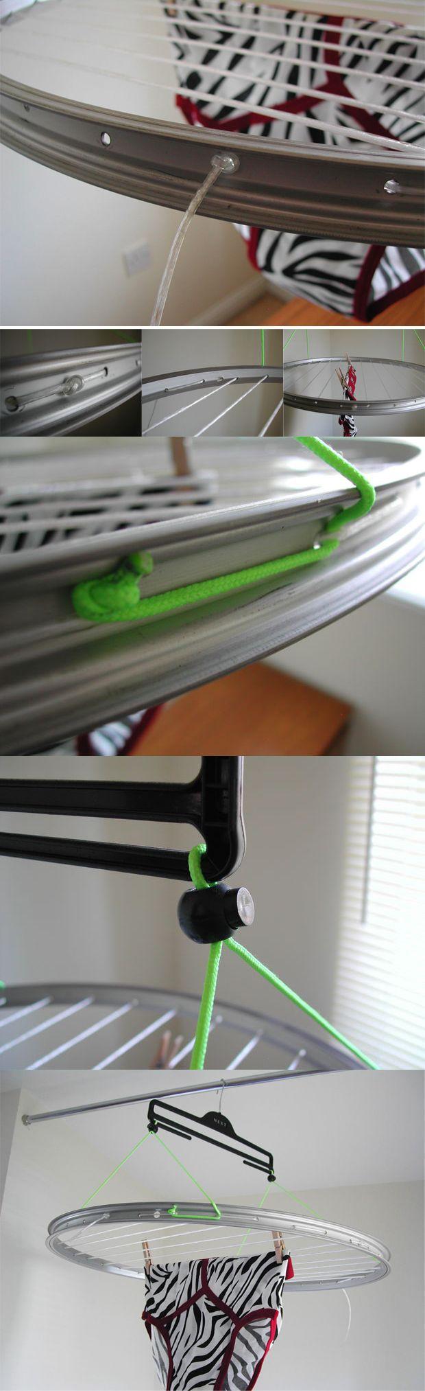 Tendedero compacto reciclando una llanta de bicicleta - Muy Ingenioso