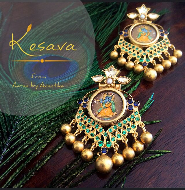Kesava: Lord Krishna with the spirit of good luck! This is one collection that has been one of the most tiresome one but also the most satisfying. Always wanted to do a fusion of the miniature paintings and the traditional kundan work. The pieces are be being created one at a time, as it requires a lot of back and forth when so many different techniques of jewelry making are involved. www.facebook.com/AaraabyAvantika