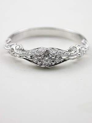 antique wedding bands | Swirling Diamond Wedding Band, RG-1750wbb