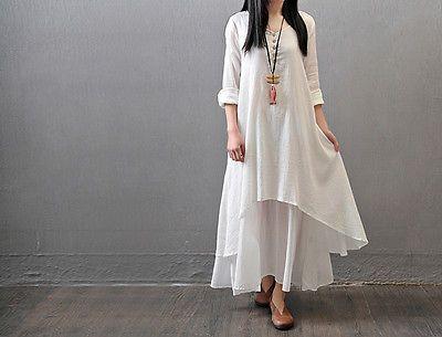 Kaftan Abaya Jilbab Islamic Muslim Women Girls Vintage Loose Long Maxi Dress
