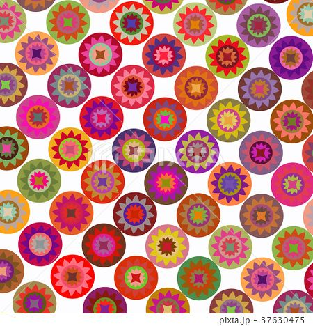 Abstract geometric floral rounds vector background