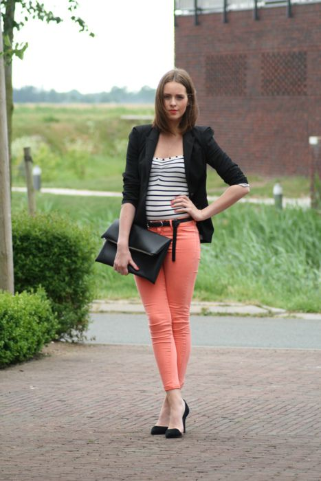 peach pant with stripe top and blazer