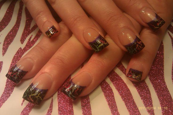 camo acrylic nail   OPI Black Shatter over Acrylic Neon tips