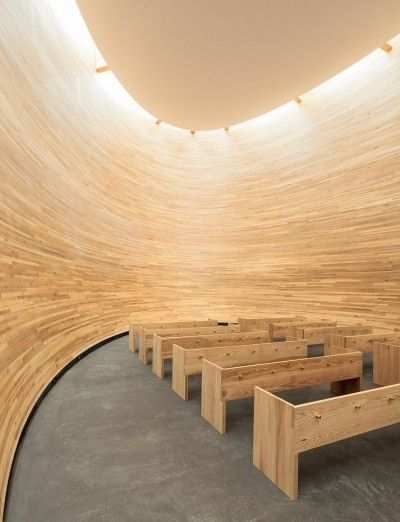 looks like a good place to think!  Kamppi Chapel of Silence in Helsinki, Finland by K2S Architects