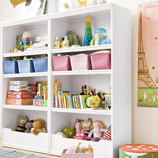 Kids 39 bookcases kids white flat top with adjustable for Shelving for kids room