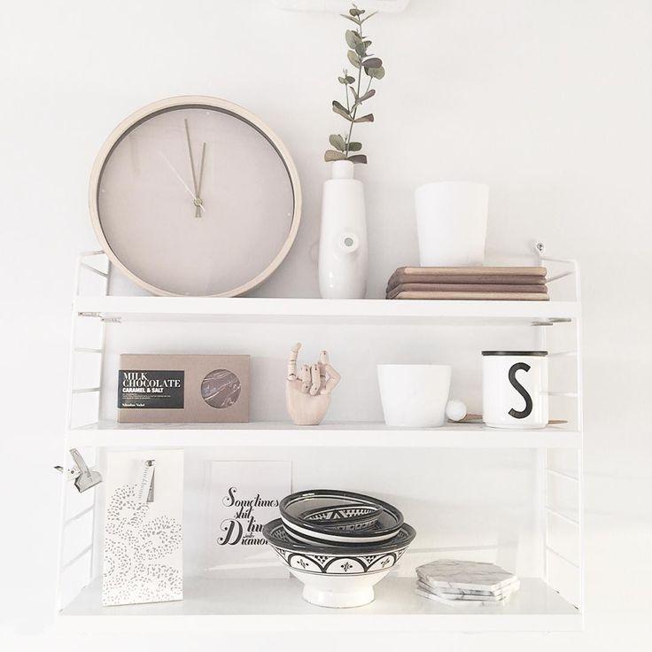 """I love our string pocket shelf in the kitchen. #noebloghome @stringfurniture #stringpocket"""