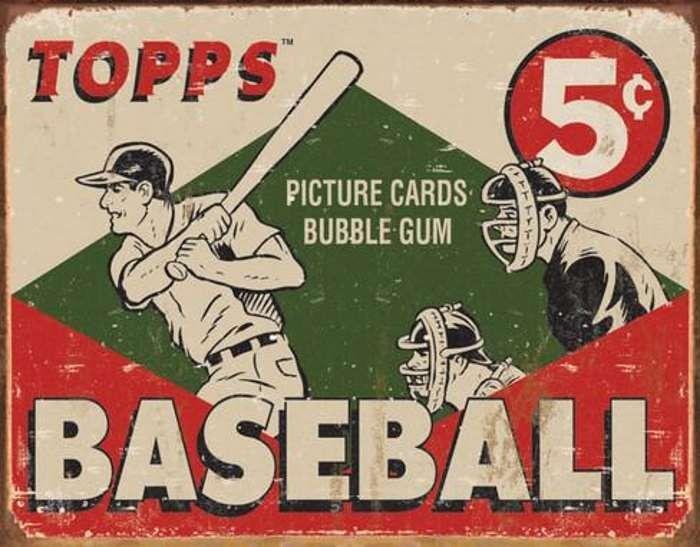TOPPS 1954 Baseball Card Retro Vintage Metal Tin Sign