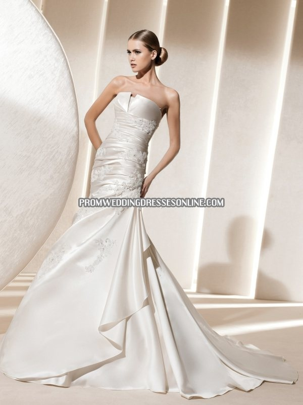 Satin Strapless Straight Silhouette Appliques Beading Mermaid In Chapel Train Designer Luxurious Unique Wedding Dress