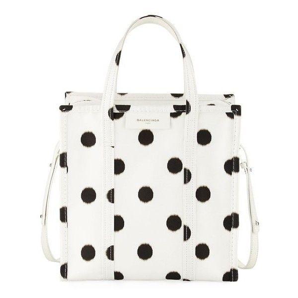 Balenciaga Bazar Shopper Small Aj Polka Dot Tote Bag ($1,650) ❤ liked on Polyvore featuring bags, handbags, tote bags, black, totes, polka dot handbags, tote bag purse, handbags totes, tote purses and silk purse