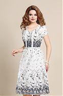 Элегантное темно-синее с белым платье, масло и шифон с принтом – купить в интернет-магазине «L'MARKA»: доставка по России