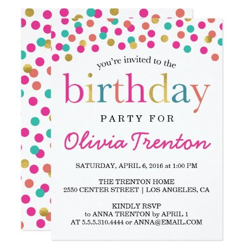 299 best kids birthday party invitations images on pinterest colorful confetti kids birthday party invitations filmwisefo Image collections