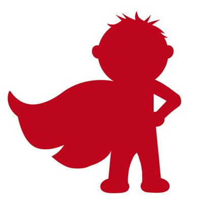 Superhero silhouette of little boy with cape.  Links to Knox's birthday party -- lots of great ideas