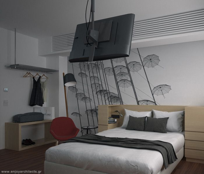 a typical hotel room under 220sqft with super anemities and facilities, by enjoy architects