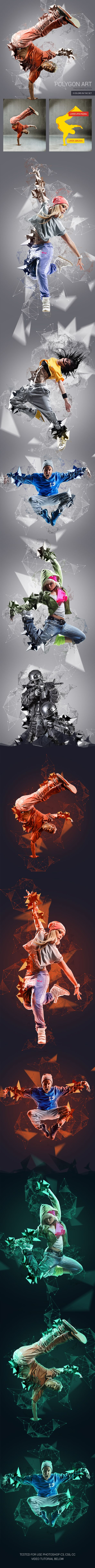 Polygon Art Photoshop Action. Download here: https://graphicriver.net/item/polygon-art-photoshop-action/17372615?ref=ksioks