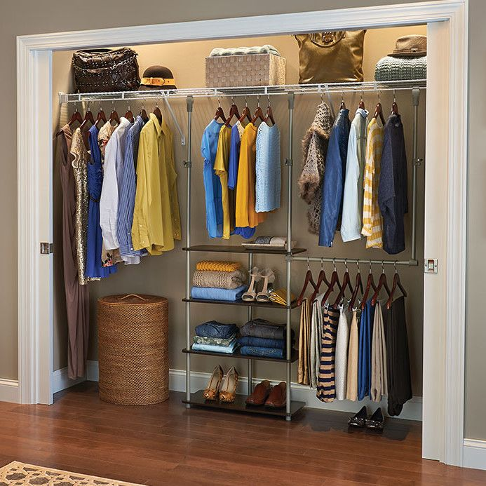 Features:  -Adjustable hang rod can be positioned on either side to customize your space.  -Clips to existing wire or wood closet rod.  -Material: Laminated wood and epoxy coated steel.  -Easy install