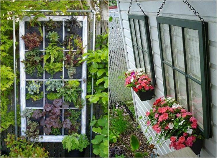 idées déco jardin DIY - des vieilles fenêtres transformées en jardin…