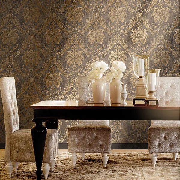 Brown and Gold damask wallpaper from the Italian Damasks 2 Collection by Galerie - 9209R