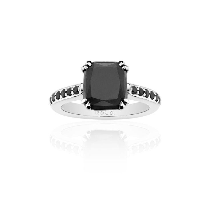 Black diamond, cushion cut. Iz&Co. unique jewelry!