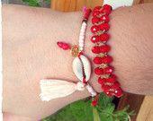 Beaded bracelets/Bracelet with seashell and beads and bracelet with red czech crystal beads/Adjystable/Summer bracelets/Boho bracelets