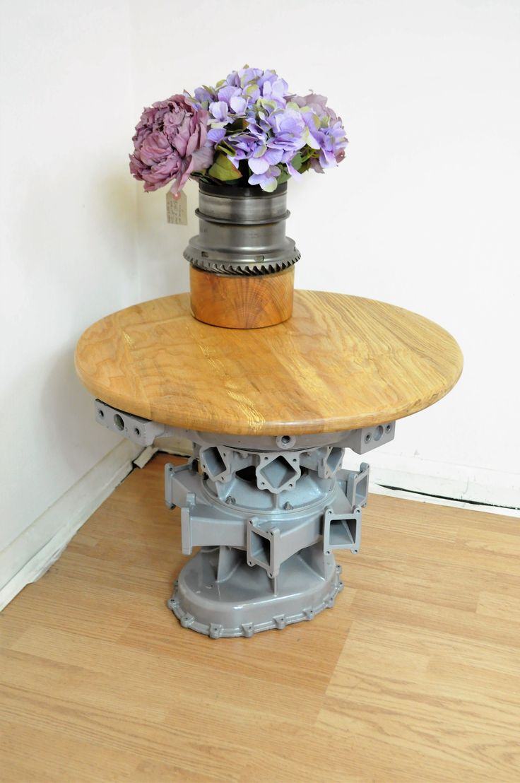 Garrett Case Table made from  a Garrett Auxiliary Power Unit Main Case. The case has been shot-blasted and stove enamelled with an elm top.