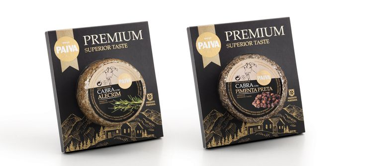 Gama premium Paiva #packaging #design #food #cheese #goat #premium #gourmet #gold #blackpepper #chili #paprika #rosemary