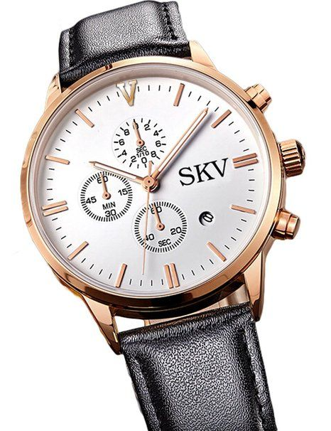 Sisistore Men Quartz Wrist Watch with Abrasion Resistant Mirror and Leather Band Rose White