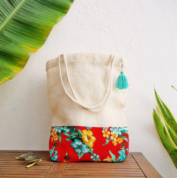 Destination des Caraïbes sacs personnalisés de mariage / personnalisés sac cadeau / imprimer des belles fleurs tropicales / demoiselles d