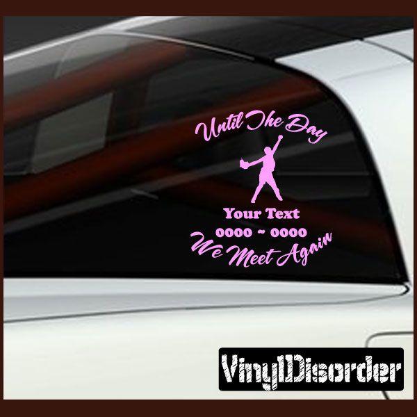 Softball 01 in loving memory custom car or wall vinyl decal stickers