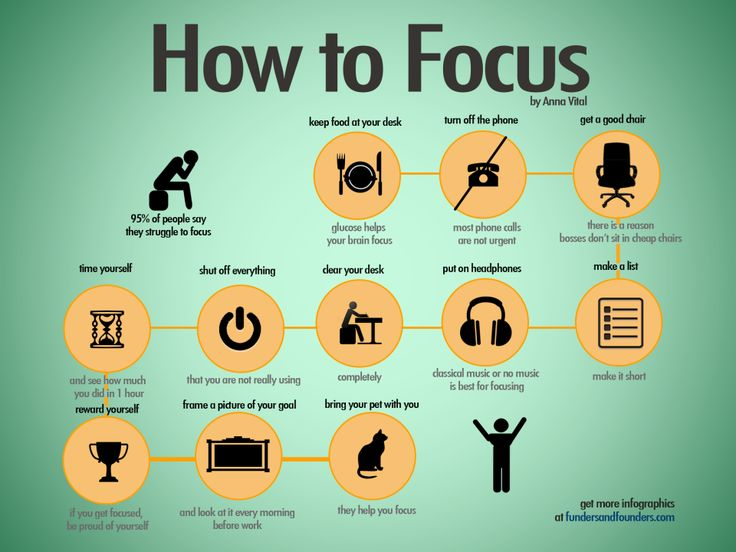 Our new infographic about how to focus. Latest focus hacks from our team: And here is a list of all hacks: Keep food on your desk.Glucose help your brain focus. Turn off the phone. Most phone calls are not urgent. Get a good chair. There is a reason- bosses don't …
