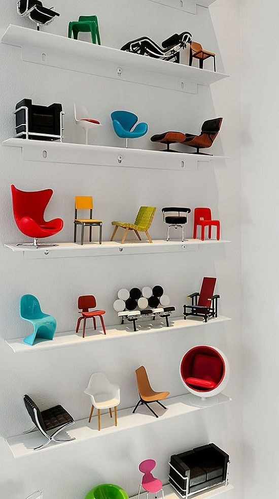 The collection is perfect. Now all it needs is a mini in each chair! | NפISƎp inspiration for the planning of the The Mini Museum | Miniature Designer Chair Collection_ *_*