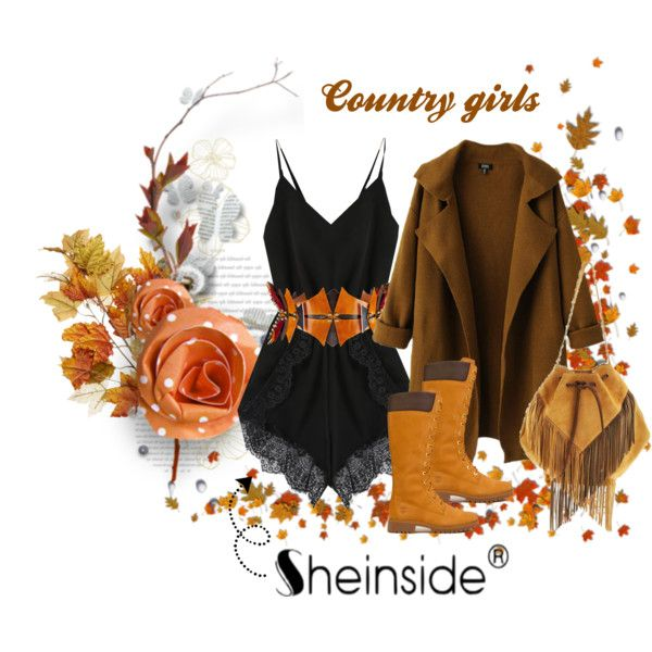 Country Girls by farka-id on Polyvore featuring Chicnova Fashion, Timberland, Georgina Skalidi, Úna Burke and country