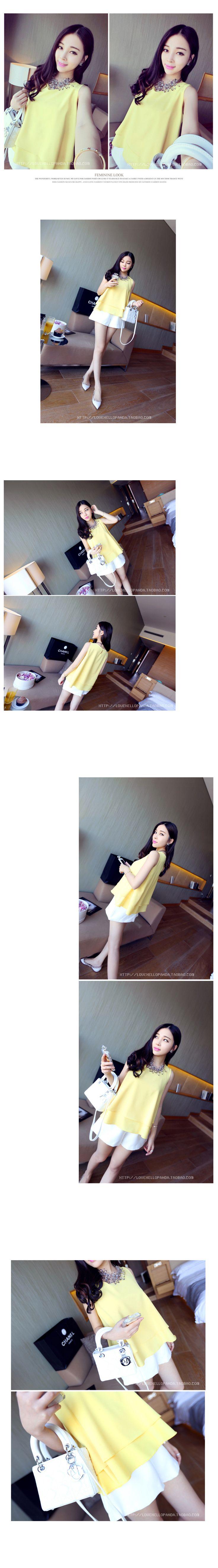 [Özel] her gün, büyük boy gevşek gündelik kolsuz yelek, kısa kollu şifon gömlek gömlek kadın yaz dibe çift - Taobao