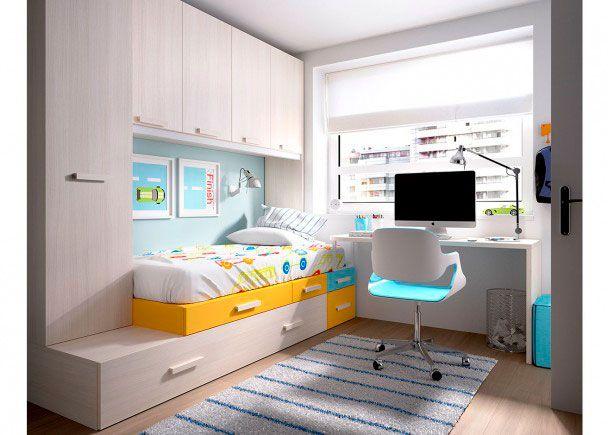 Habitación Juvenil modular con armario apilable
