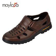 Verão Casual masculino sandálias de couro sapatos buraco recorte sandálias de couro homem sapatos de couro fresco(China (Mainland))