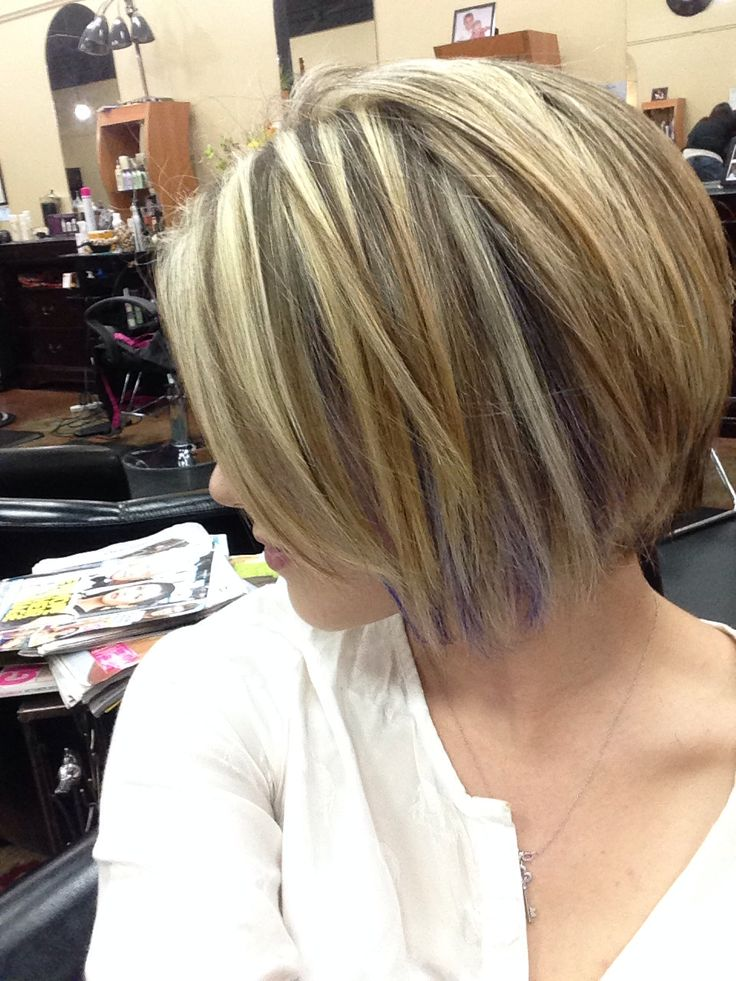 Short Hair With Purple Streaks I Love This Subtle Pop Of