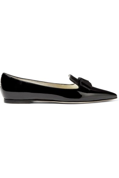 Jimmy Choo - Gala Patent-leather Point-toe Flats - Black - IT