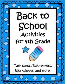 Great 36 page set of Back to School Activities for 4th Grade including worksheets, task cards, games, a writing activity, math activities and more to keep your kids busy learning the first week. Gives you as a teacher, a simple way to get to know the kids, while allowing them to get to know one another, and helping them make the transition to a new classroom. This is a go to set you'll use year after year! $
