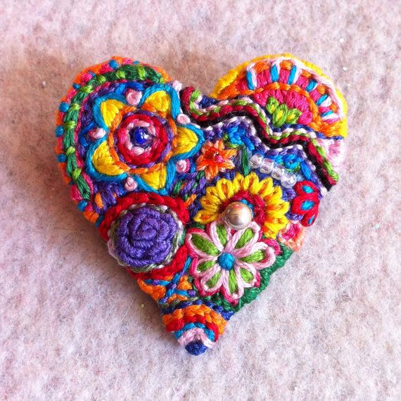 Freeform embroidery bright floral Heart brooch with beads