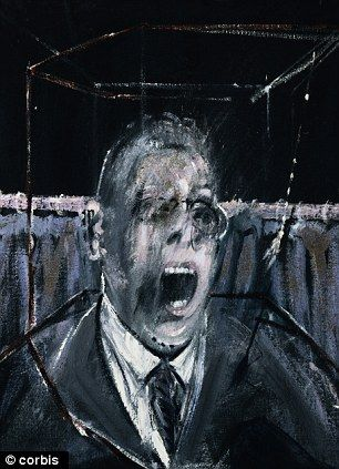 francis bacon: This painting expresses the emotion of fear by using dark colors and by using facial expressions in his artwork.
