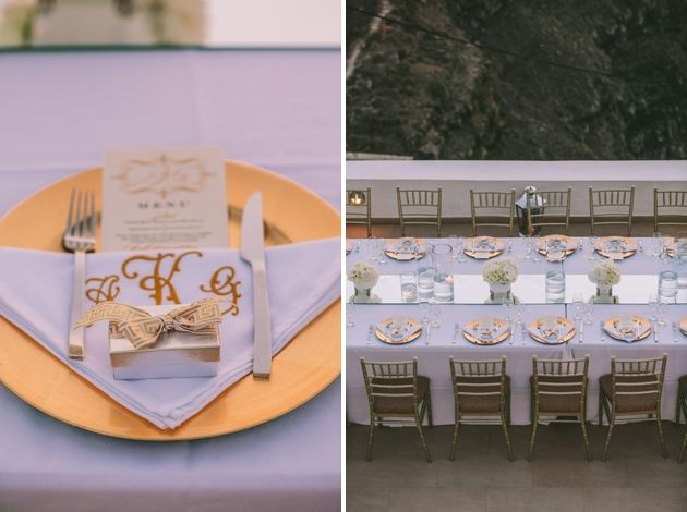 Gold dinner plates, what can we say? Images by George Pahountis. Wedding in Greece by Stella & Moscha
