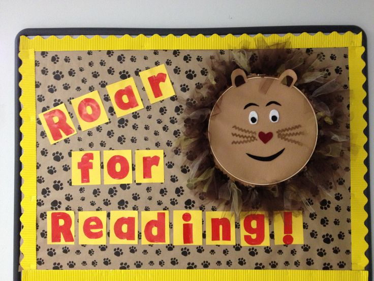 Bulletin board for my school library--Roar for Reading! The Lion is our school mascot.