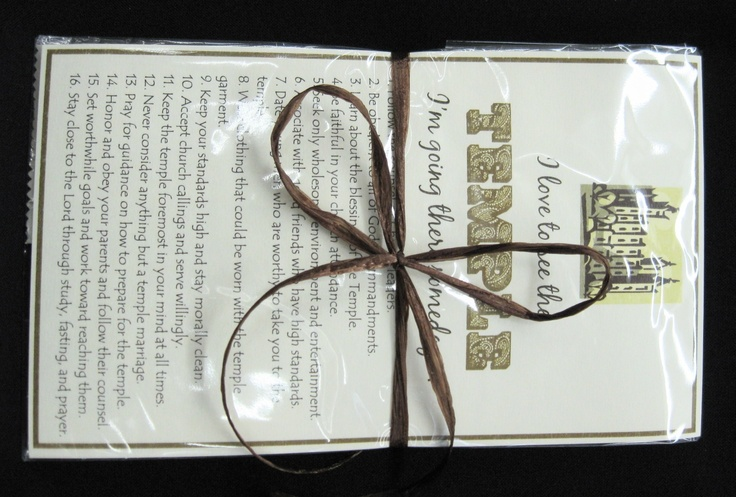 Temple Steps  Help your young women make the right steps to get to the temple with this handout.  Favor includes 2 chocolate Hershey bars with a tag that has 16 essential steps to get to the temple.