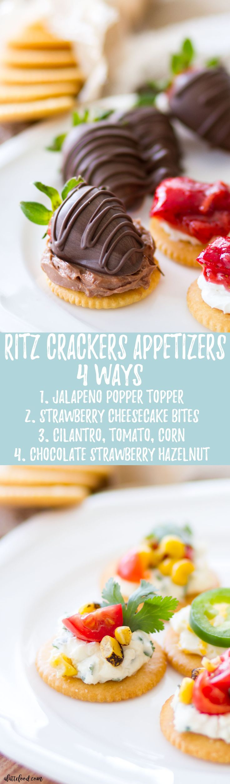 These easy RITZ Crackers appetizers are made 4 dif…