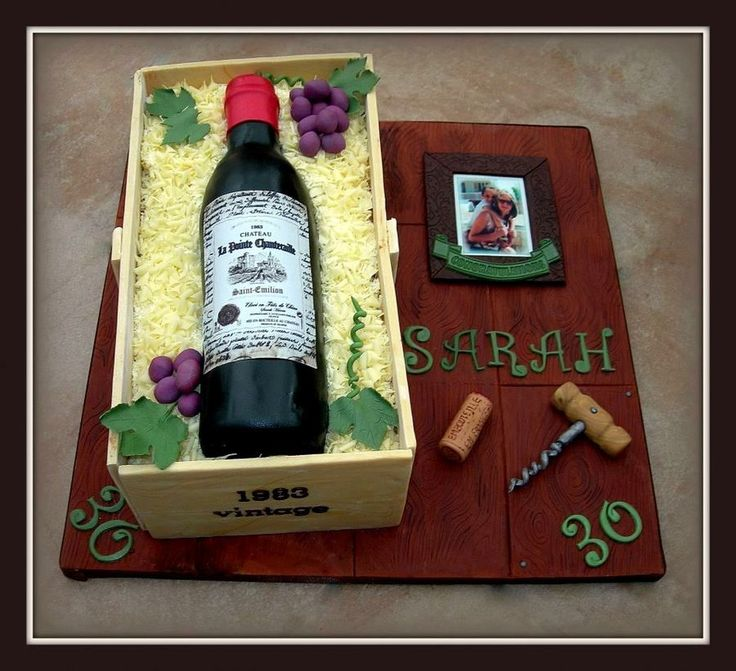 Red Wine Bottle In A Box Cake Everything Is Edible Bottle Is Made Of Chocolate Fudge Cake As Is The Crate Cork And Corkscrew Made From Fo on Cake Central