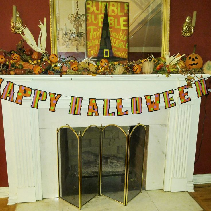 Custom HAPPY HALLOWEEN Banner completes this Gorgeous mantel!!!