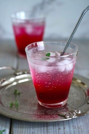 """shiso juice: """"Red shiso is a Japanese perilla herb and is used for dyeing pickled ume. I would boil red perilla leaves with water, vinegar, and sugar and serve with cold soda or water. Tastes great and it's good for Japanese summer heat. It is a family recipe for summer here in Japan."""" —Naoko"""