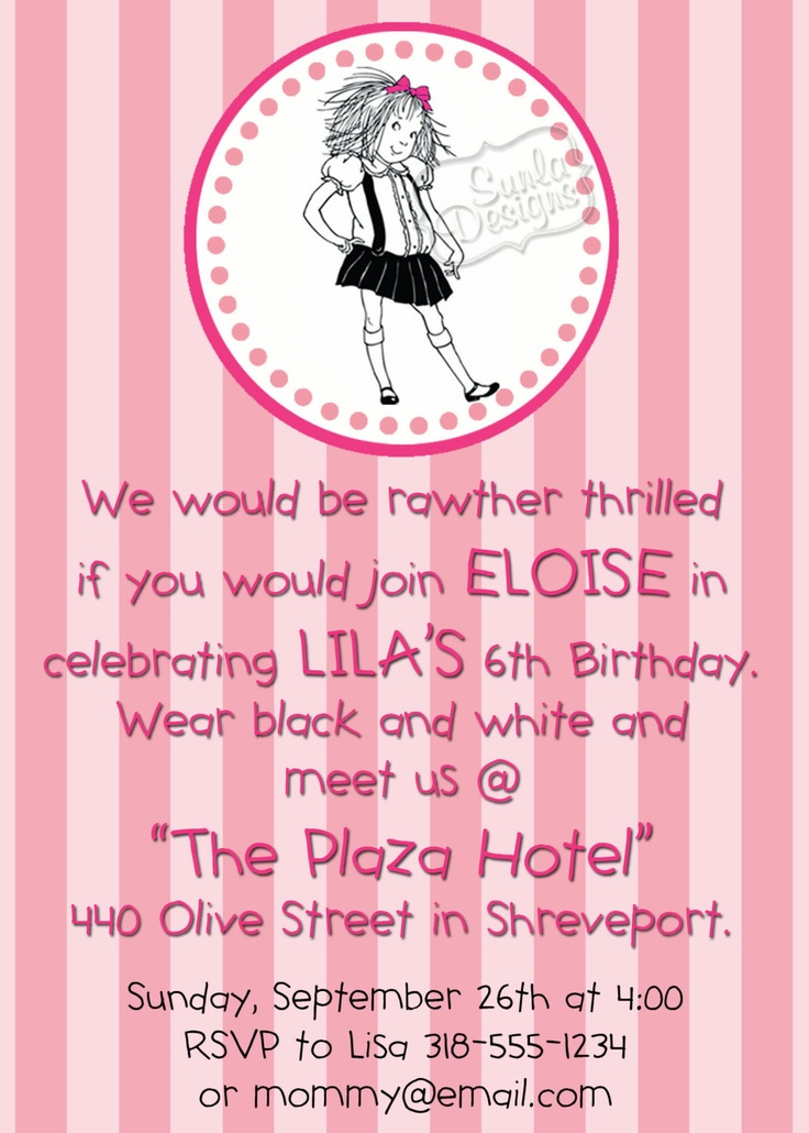 Eloise at the Plaza Hotel Birthday Party or by SunlaDesigns, $8.00